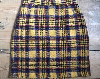 326a75a836cd5 Vintage St Michael yellow plaid mini skirt size UK 8 US 4