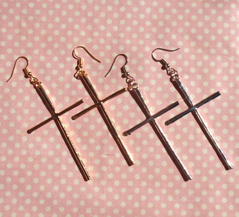 Large cross earrings in gold or silver hook stud or clip on