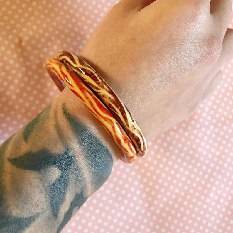Zebra print wooden bangle