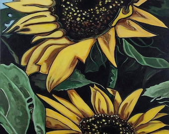 Sunflower #1, impressionist paintings, sunflower paintings, floral paintings, floral prints, giclees prints from original art work.