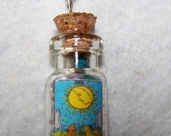 The Moon Tarot Stone Bottle Necklace