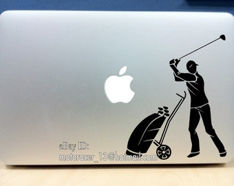 black Golfing sticker - high quality vinyl golf decal Macbook Pro Air 13in 15