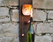 Modern Industrial Wine Bottle Tiki Torch Oil Lamp with Hand Hammered Copper Reflector and Shou Sugi Ban Lumber
