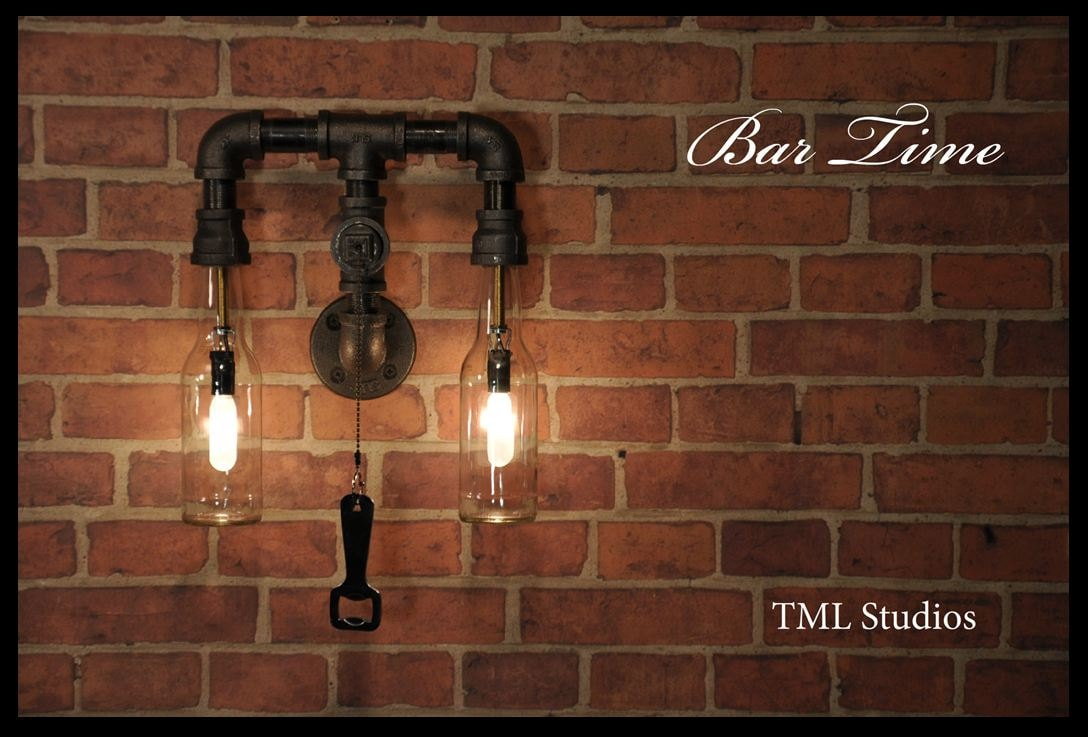 Cool bar lighting Funky Track Evfreepress Bar Time Industrial Plumbing Pipe Beer Bottle Wall Sconce Etsy