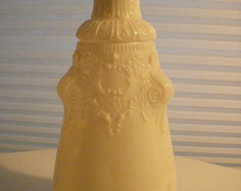 Antique Victorian Era Milk Glass Barber Bottle (no stopper) - Embossed Scroll and Floral Motif