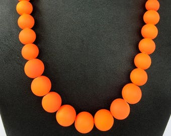 Neon Orange Jewelry Summer Time Necklace Trendy Summer Jewelry Summer Jewelry Neon Orange Necklace Neon Jewellery Neon Necklace Jewellery