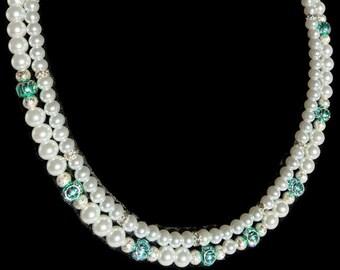 Bridal Jewelry - Bridesmaid Necklace - Bridesmaid Jewelry - Green Jewelry - Pearl Bridal Jewelry - Green Bridal Necklace  - Green Bridesmaid