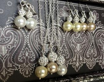 Bridesmaid Jewelry - Flower Girl Jewelry - Pearl Bridal Jewelry - Rhinestone Bridal - Bridesmaid Jewelry Set - Bridal Jewelry - Wedding