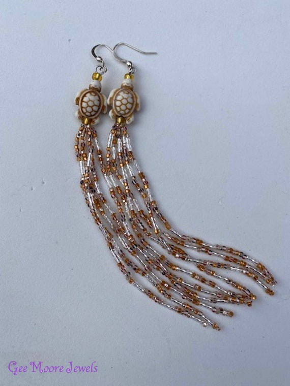 Turtle Topped Native American Style Seed Bead Dangle Earrings Extra Long