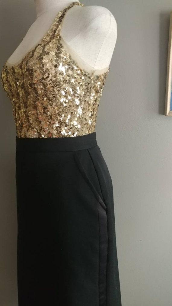 1970s Black Tuxedo Skirt Black A-line Skirt Little