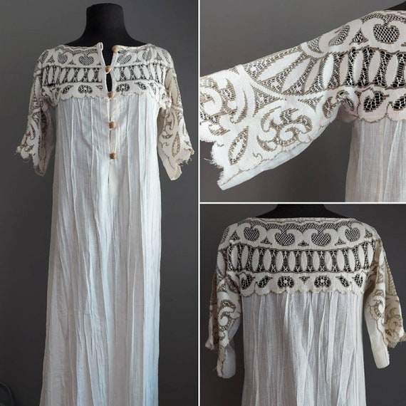Vintage Lace and Cotton Kaftan Hippie Boho Dress E