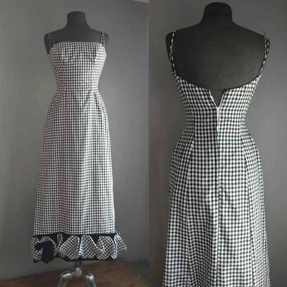 Vintage Gingham Dress S M Black Velvet Gown Black