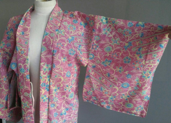 Vintage Haori Jacket Floral Kimono Japanese Haori
