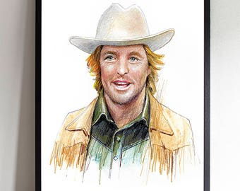 Owen Wilson The Royal Tenenbaum Tribute Wallart Wes Anderson Movie Illustration Poster Eli Cash Zoolander Cinema