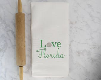 Love Florida Kitchen Towel, Embroidered Kitchen Towel, Florida Decor, Seashell Decor, Nautical Decor, Gift for Her, Gift for Baker