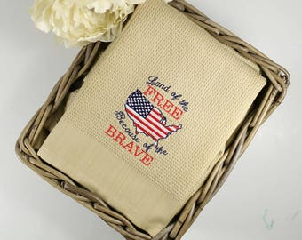 Patriotic Kitchen Towel, Waffle Weave Kitchen Towel, Patriotic Decor Kitchen Towel, Land of the Free Because of the Brave, Gifts Under 25