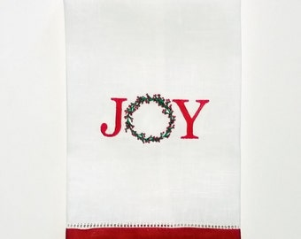 Christmas Gift for Her, Joy Gift for Her, Christmas Gift Ideas, Holiday Gift Ideas, Joy Linen Towels, Housewarming Gift, Linen Guest Towels