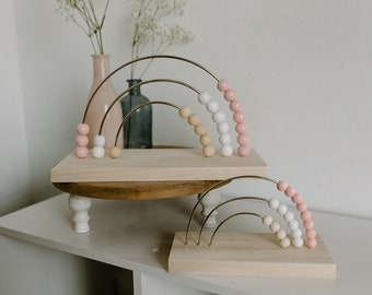 Pink Neutral Rainbow Abacus | Wood Nursery Décor | Baby Counting Games