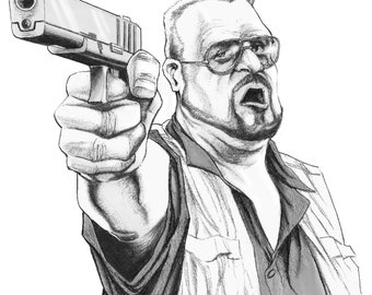 Walter Sobchak from Big Lebowski Pencil Illustration