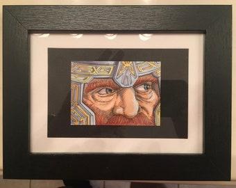 Lord of the Rings Gimli Original art sketchcard/framed