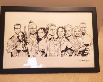 Original Framed Firefly Crew Illustration