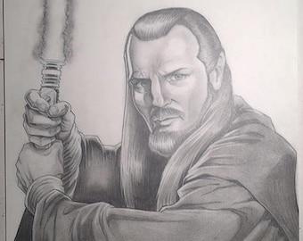 Qui Gon Jinn Jedi Master pencil illustration