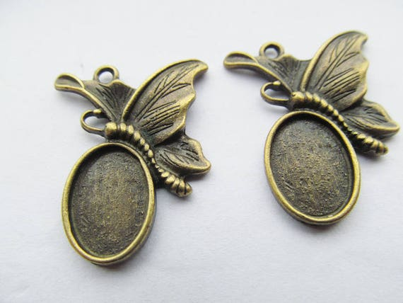 Antique Silver toneAntique Bronze Butterfly Oval Base Setting Tray Bezel Pendant CharmFinding,Fit 10mmx14mm CabochonPictureCameo Findings Jewelry Making & Beading