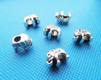 9.5mmx14mm Cute Cabinet Antique Silver tone Elephant Slider Spacer Beads Charm/Finding,for Bracelet & Necklace,DIY Accessory Jewellry Making