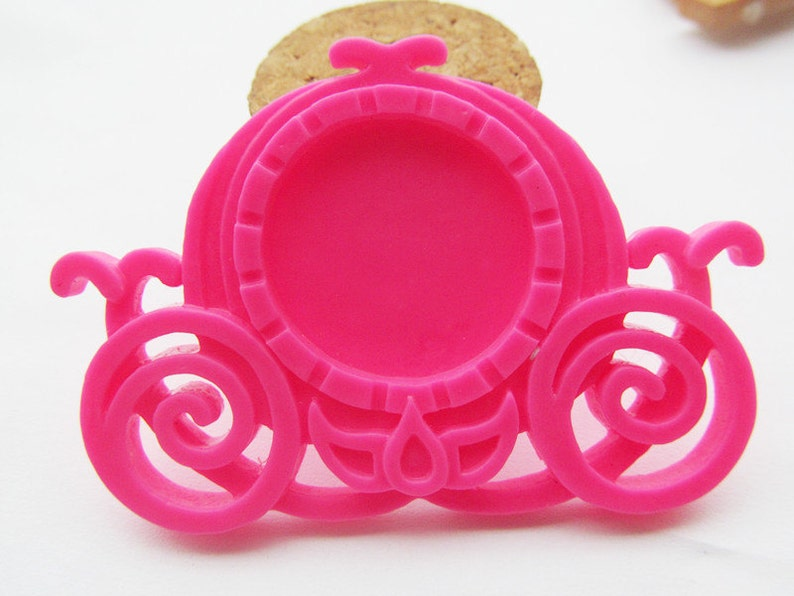 7 Colors Flatback Resin Carriage Charm Finding,Base Setting Tray,for 25mm PictureCabochonCameo,DIY Accessory Jewelry Making