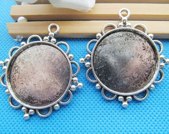Heavy Antique Bronze/Antique Silver tone Round Base Setting Tray Bezel Pendant Charm/Finding,Fit 30mm Cabochon/Picture/Cameo,DIY Accessory
