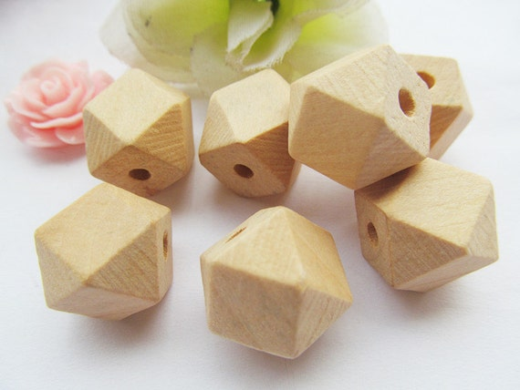 15mmx22mm Unfinished Faceted Natural Wood Spacer Beads,14 Hedron Geometricf Figure Wooden Beads Charm Finding,DIY Accessory Jewelry Making
