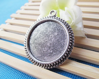 38mm Antique Silver tone/Antique bronze Round Beads Border Base Setting Tray Bezel Pendant Charm/Finding,fit 30mm Cabochon/Cameo