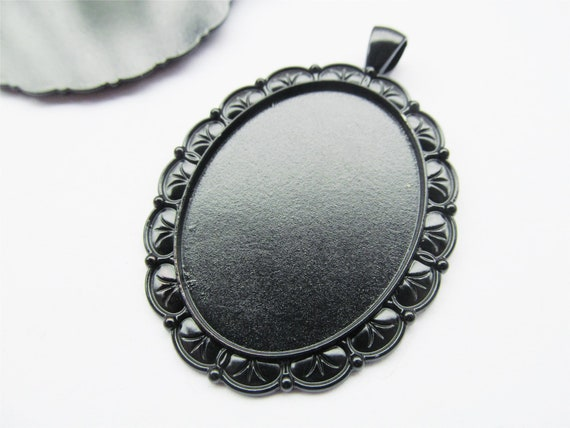 8 Colors Filigree Round Blank Base Setting Tray Bezel Pendant CharmFinding,Fit 25mm CabochonCameo,DIY Accessory Jewelry,Double Same Side