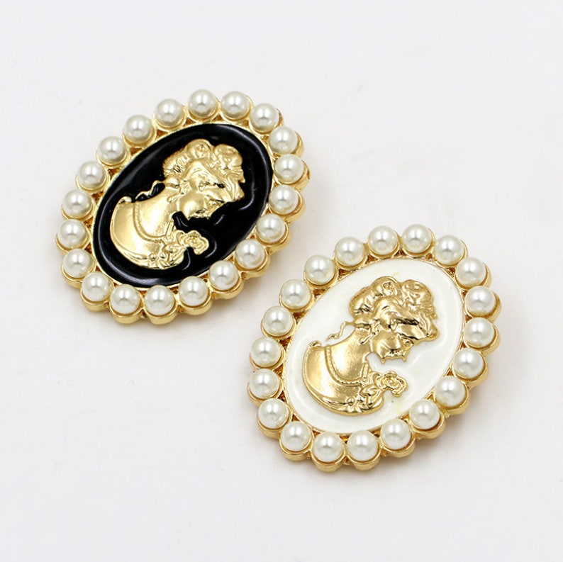 42mmx55mm KC Gold  Enamal Beauty Cameo ABS Pearl Oval Brooch Pendant CharmFinding,DIY Accessory Jewelry Making