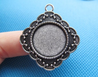 Antique Silver/Antique Bronze Prismatic/Square Cross Base Setting Pendant Charm/Finding,20mm Cabochon/Cameo Tray Bezel,Jewellry Accessory