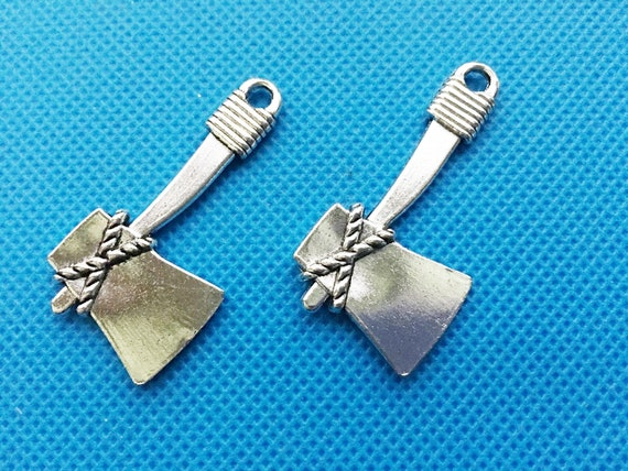 6 Axe hatchet pendants antique silver tone SW16