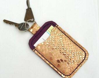 Leather cardholder with keyring. Single Oyster card holder. Leather key and card case. Purple leather credit or bank card holder.