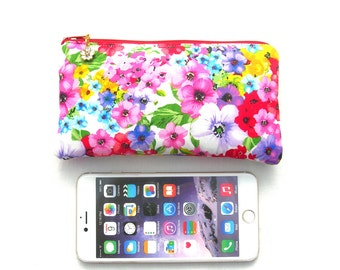 Padded iphone 6 plus pouch. Large smartphone pouch. Floral zipped pouch