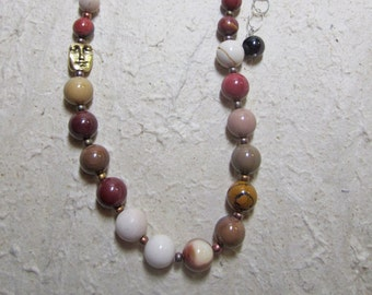 Autumn Moons sterling necklace w mookaite, mook jasper, pewter