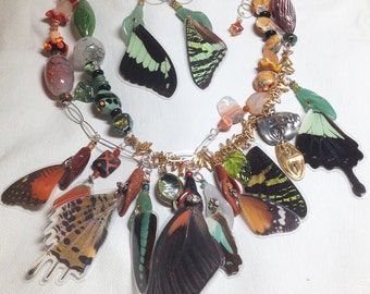 Take Off Your Mask and FLY! - necklace & earring set w butterfly wings, lampwork glass beads, sterling, semi-precious stones, boho, nature