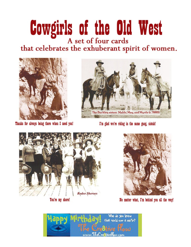 Cowgirls of the Old West  set of 4 greeting cards honoring image 0