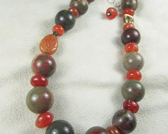 Forest Fire OOAK sterling necklace set with picasso jasper, carnelian, aventurine, pewter