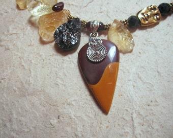 Yin-Yang - OOAK sterling necklace w mookaite, citrine, garnet, vermeil, pewter, balance, beauty, autumn, sun, equinox, spiral, dance, fall