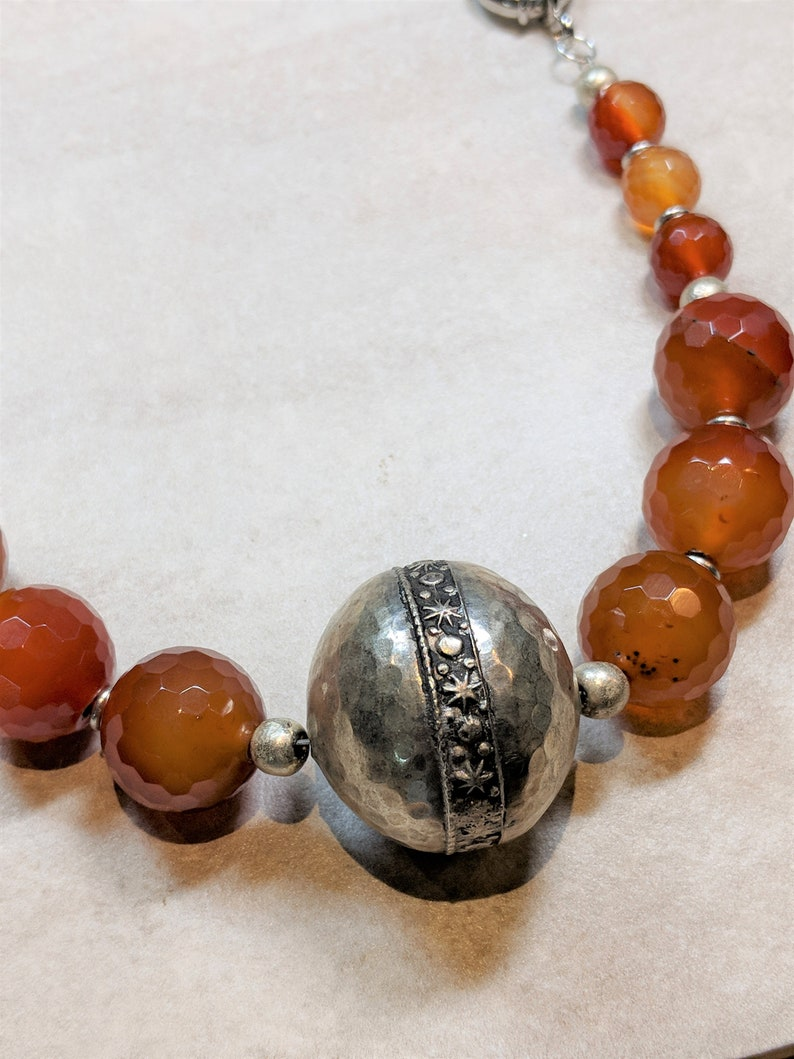 warrior handmade Moroccan silver bead Full Moon Drum queen metals carnelian hand-hammered, fire Berber bead priestess celestial