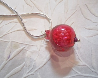 Pomegranate - Winter's Fruit necklace of handmade lampwork glass pendant, seed beads, for sacred adornment for teen girl, young girl