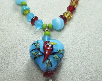 """KSDesigns - """"Birds & Bees'"""" with Red Cardinal Heart OOAK sterling necklace"""