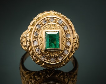 Genuine Edwardian rare natural emerald and diamond poison locket ring