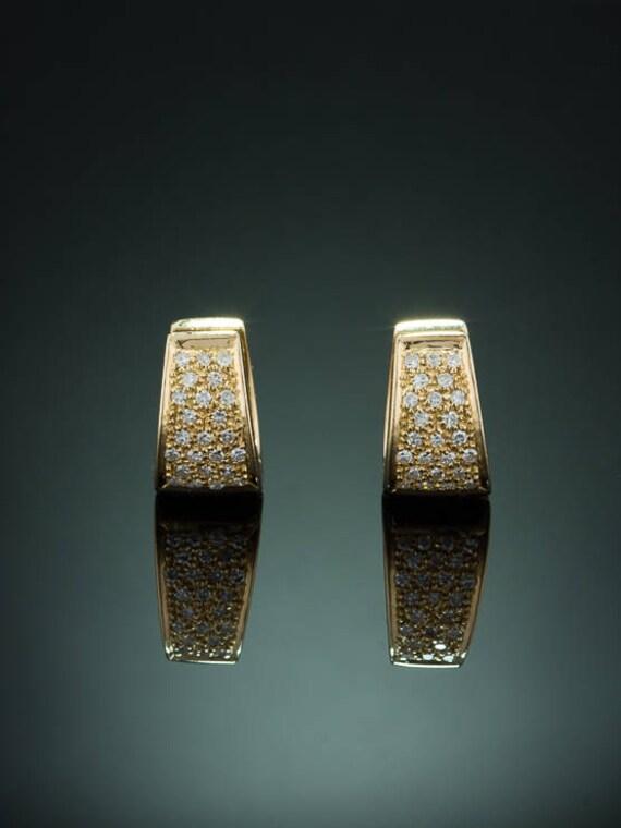 Vintage diamond half hoop earrings
