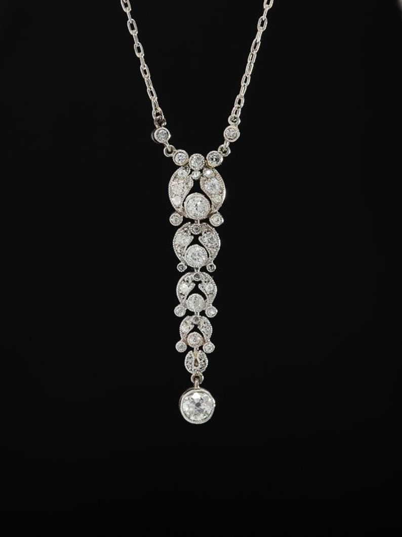9a0815f6c8850 Art Deco Rare 1.76 Ct Diamond and Platinum Sensual Pendant Necklace with  original chain