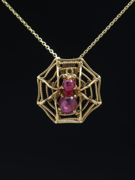 Victorian Natural Ruby Spider on Web Pendant